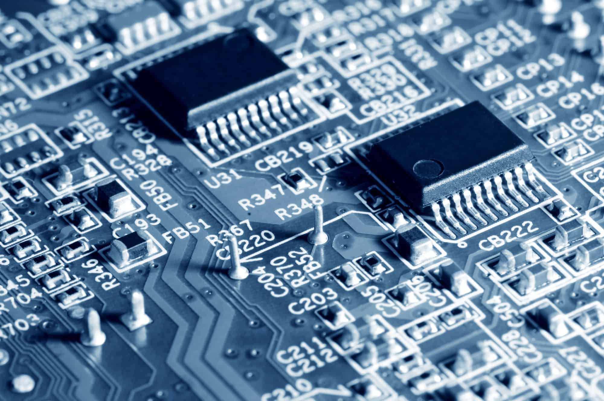 Close-up electronic circuit board with micro chips